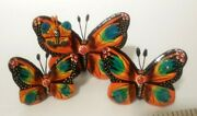 Hand-painted Set Of Clay Butterflies Set Of 3 - Table Decor