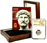 Roman Emperor Hadrian Silver Coin Ngc Certified Vf And Beautiful Wood Box