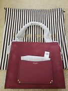 Henri Bendel Ny Lenox Tote Suede Leather Nwt Red Burgundy Wine Color + Pouch
