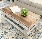 Rustic Coffee Table Barnwood Reclaimed Wood Living Room Distressed Natural White
