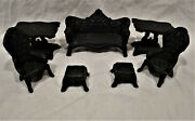 7-pc Vtg Cast Iron Doll House/miniature Furniture Set--couch/chair/stool/table