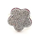 1.80ctw Natural Ruby And Diamond 14k White Gold Ring - Size 8 50004292