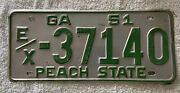 Good Solid Original 1951 Georgia License Plate. See My Other Plates