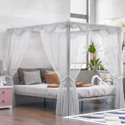 Queen Size Platform Beds Heavy Duty Metal Canopy Bed Frame Mosquito Nets Frame