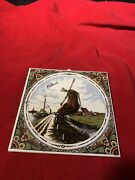 Vintage Tile Made In Holland Ceramic 6 X 6 Dutch Windmill Scene Hand Painted