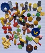 Rare Huge Lot 105 Pieces Vintage Plastic Food And Dishes Kitchen Girls Playhouse