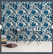 Modern Large Scale Floral Blue And White Peel And Stick Wallpaper