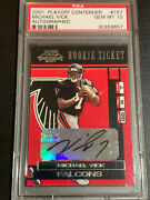 2001 Playoff Contenders Michael Vick Rookie Auto Rc Dna Autograph Signed Falcons