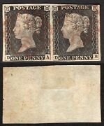 Gb Qv 1d Black Sg3 Superb Fine Used Red Mx Pl3 Worn Plate In Pair Cat Andpound1700