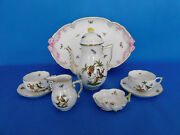 Herend Rothschild Pattern Tea Set For Two Person Porcelain