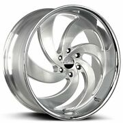 24 Strada Wheels Retro 6 Silver W Brushed Face And Ss Lip Rims And Tires Package