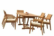 A-grade Teak 7pc Dining 94 Mas Oval Table Vellore Stacking Arm Chairs Set Patio