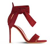 Gianvito Rossi Red Tabasco Suede Tie Ankle Sandals Heels Tie Ankle Sz 38.5