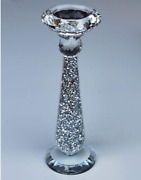 Crushed Diamond Sparkly Crystal Candle Holders Silver Ornaments Home Decoration