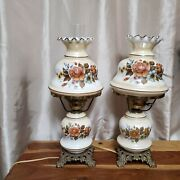 Vintage Floral Parlor Hurricane Lamp Set Of 2 Gone With The Wind By Landl Wmc