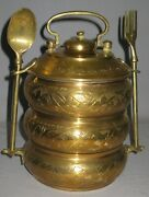 Vintage Rare Brass Asian Stacking Bucket/lunch Pail Embossed Detailed Design