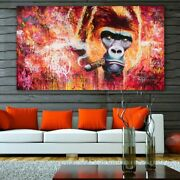 Monkey Gorilla Smoking Pictures Canvas Painting Wall Art For Living Room Modern