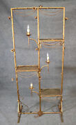 Hollywood Regency Italian Gilded Tole Metal Andeacutetagandegravere With Candle-form Lights