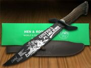 Hen And Rooster Bowie Knife Custerand039s Last Stand Deer Stag Blackened 5000b/cls