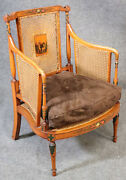 Fine Satinwood English Paint Decorated Cane Bergere Club Chair Circa 1850