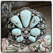 🎁happy Piasso Dry Creek Turquoise Sterling Fan Cuff Signed