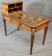 French Louis Xvi Cartonnier Writing Desk With Tortoise Finished Leather