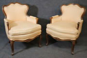 Pair Of French Louis Xv Style Carved Walnut Bergandegravere Club Chairs Circa 1950