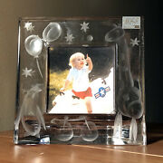Heavy Cut Crystal Mikasa Photo Picture Frame 3 1/2 Square Picture Window Gift