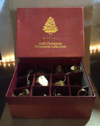 The 1996 Danbury Mint Gold Christmas Ornament Collection 12 Pieces In Box