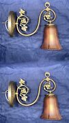 Brass Sconces With Antique Amber Carnival Glass Shades Rewired Fixtures 43a
