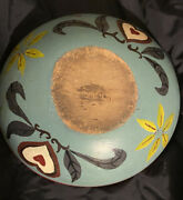 Large Antique Old Primitive Munising Painted Wooden Dough Mixing Bowl- Signed