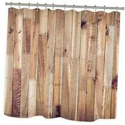 Wooden Shower Curtain Farmhouse Rustic Country Wood Plank Board Vintage Fabric