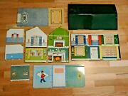 Vintage Nib Marx 2 Story Colonial Green Roof Dollhouse 1950s / 1960s Complete