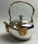 Antique Imperial Japanese Solid Silver Teapot Emperor Japan Chrysanthemum Throne