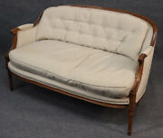 French Louis Xv Carved Walnut Settee Canape Sofa With Matching Pillows