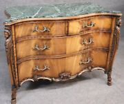 Figural Carved Maidens French Green Marble Top Commode Server Buffet Circa 1940