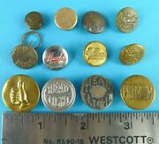 Overall Workwear Glove Uniform Buttons Vintage Lot Of 12 Head Light Twin Bute +