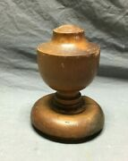 Antique Wood Newel Post Ball Top Finial Shabby Staircase Chic Vtg Old 287-21b