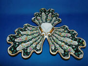 Herend Siang Noir Pattern Shell Triple Winged Serving Plate Porcelain