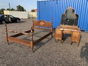 Antique Vanity On Wheels With Matching Headboard Footboard Full Size