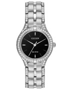 295 Citizen Silhouette Crystal Black Dial Ladies Watch Fe2060-53e