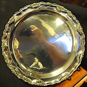 Taxco Mexico Hand Hammered Hand Wrought Tray 15 Dia. Signed Gn 925 Sterling