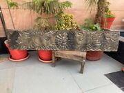 Ancient Wood Carved Fish Elephant Figure Painted 52 X 10'' Mughal Door Panel