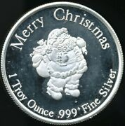 Merry Christmas Santa / Happy New Year 1 Troy Oz. .999 Proof-like Silver Round