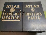Vintage Atlas Tune-up Service Ignition Parts Tool Wall Cabinet Vgc