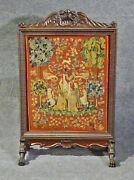 Antique Carved Walnut Victorian English Needlepoint Firescreen
