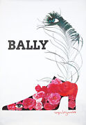 Original Vintage Poster Bezombes Bally Shoes Women Flowers Feather Fashion 1980