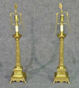 Solid Brass French Regency Fluted Column Lamps With Paw Feet And Anthemia Pair