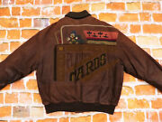 Iceberg Vintage Leather Jacket Playing Cards Jiminy Grill Braun Size L Tip Top