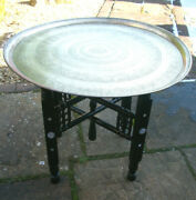Antique Islamic Ebonised Inlaid Folding Side Table With Brass Tray Top